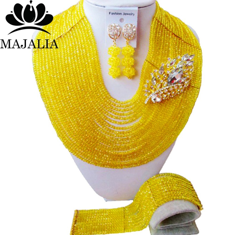 купить Fashion african jewelry set yellow nigerian wedding african beads jewelry set Crystal Free shipping Majalia-349 по цене 4353.88 рублей