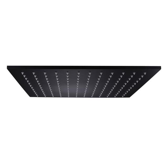 Accesorios para grifos de baño de alta calidad, cabezal de ducha de acero inoxidable SUS304 cuadrado de lluvia de 16 pulgadas, acabado negro mate, venta al por mayor