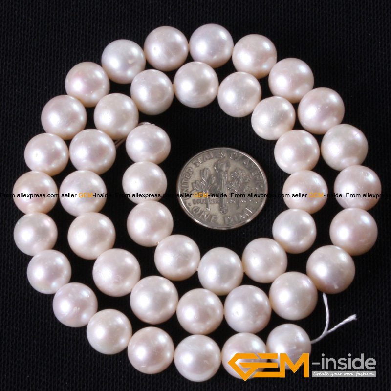 10-11mm Round White Natural Freshwater Pearl Beads For Jewelry Making Strand 15 Inch DIY Bracelet Necklace Jewelry Pearl Bead