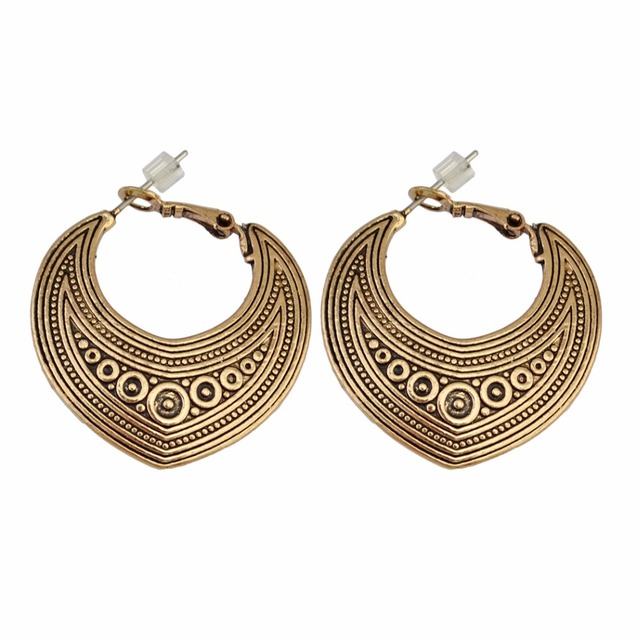 Bohemian Turkish Vintage Silver Gold Drop Earring Indian Style Shinny Geometry Earrings For Women Fashion