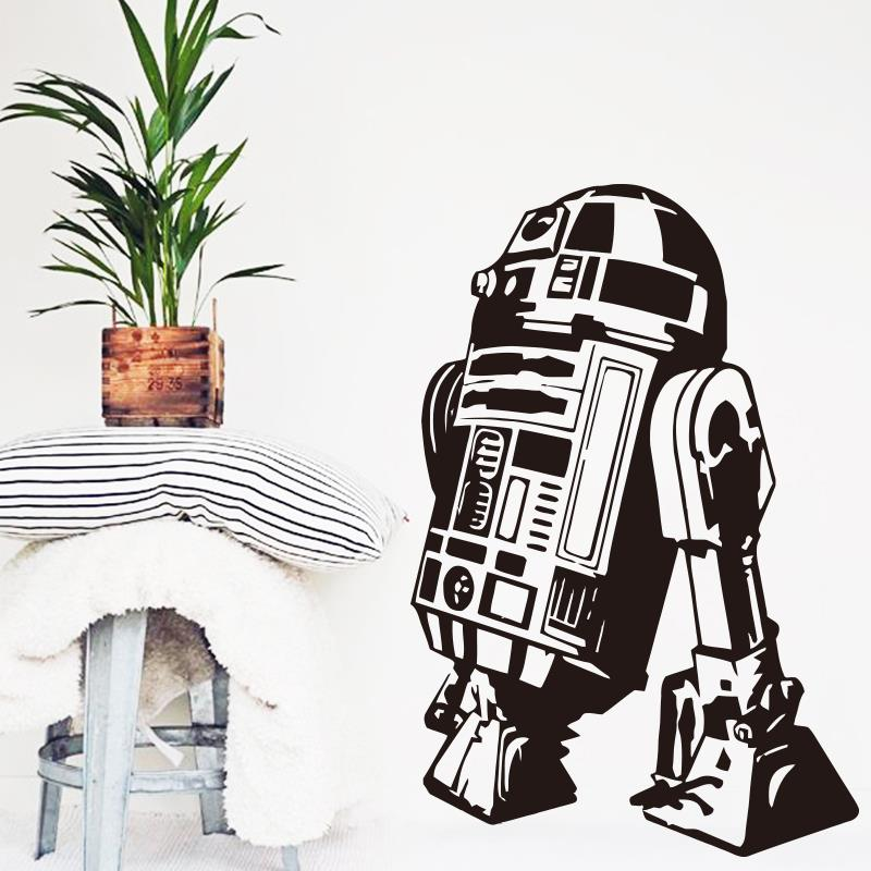 Modern Design Star Wars robot Wall Sticker Quote R2 D2 Decal Vinyl Home Decor Kids Geek Gamer Removable Mural Bedroom Decor M806 ...