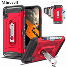For iphone X XS XR 7 8 case Hybrid Armor Silicone Back Cover Kickstand For iPhone XS Max X 6S 7 8 Plus Rugged Case Card Pocket stylish shockproof and rugged mechanical hybrid case for iphone xr x 6 s 7 8 plus and iphone xs max tpu silicone case
