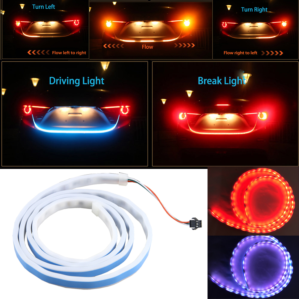 1pc 120cm RGB LED Strip Lighting Rear Trunk Tail Light Dynamic Streamer Brake Turn Signal Led Warning Lights Strips Car Styling