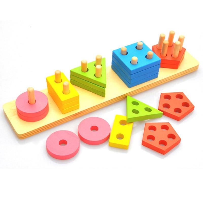 Materiais De Montessori De Madeira Forma Geometria Brinquedos & Cores Combinam Com Pilhas de Tijolos Brinquedos do Miúdo Brinquedos Educativos Puzzles Engraçados de Nidificação