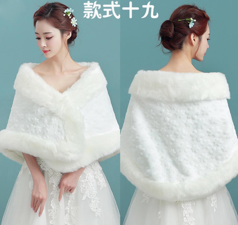 Frauen Dame Faux Pelz Schal Woolen Braut Hochzeit Braut Stilvolle Warme Winterjacke Gehobenen