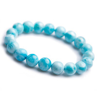 2018 New Genuine Natural Larimar Round Beads Crystal Bracelet Fashion Women Larimar Bracelet Blue White Crystal Stone Bracelet