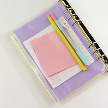 5pcs/lot A5 A6 A7 File Holder Standard 6 Holes Transparent PVC Loose Leaf Pouch with Self-Styled Zipper Filing Product Binder