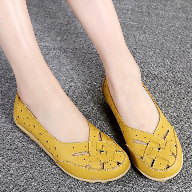 Flats For Women  Comrfort Genuine Leather Flat Shoes Woman Slipony Loafers Ballet Shoes Female Moccasins Big Size 35-44 3