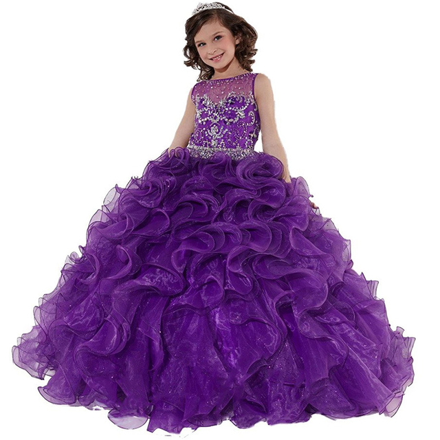 purple little girls pageant dress long kids ball gowns ...