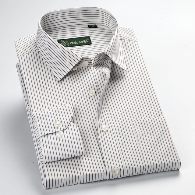 Factory Sale high quality 2019 easy care  new plus size long sleeve striped men dress shirts 5xl  regular fit non-iron easy care Dress Shirts