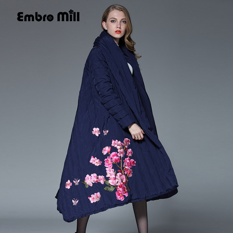 Royal embroidery Down Jacket coat women winter vintage loose lady long floral thick warm White duck Down Parkas female S-XXXL