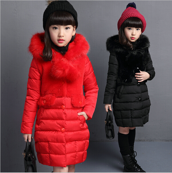 Girls Long Slim Winter Jacket Coat Girl 2017 Warm Thick Hooded Cotton Jacket/Parkas Baby Girl Big Fur Collar Outerwear Coats winter jacket women 2017 mid long thicken warm cotton padded down parkas coat faux fur collar hooded jacket for girl