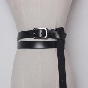 Image 5 - 2020 Vintage Cuoio Genuino Della Mucca con fibbia in metallo Cinture lunghi per Le Donne Arco legato Accessori Dei Vestiti di larghezza 2.6 centimetri