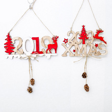 Christmas New Year Door Decor Hanging Pendant Wooden Elk Tree Xmas Ornaments TT-best