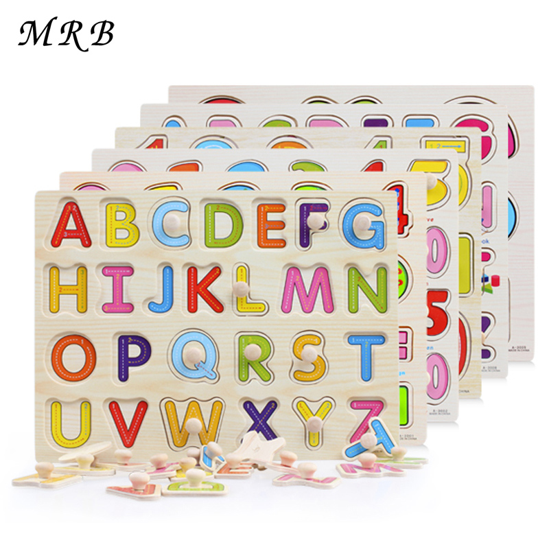 Baby Kid Early educational toys baby hand grasp wooden puzzle toy alphabet and digit learning education child wood jigsaw toy