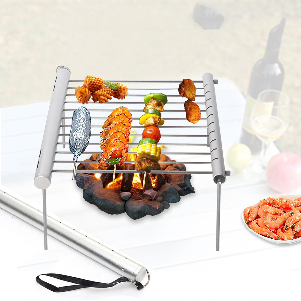 1 Set Portable Multifunction BBQ Grill Stainless Steel Folding Barbecue Accessories for Home Camping Picnic Tool