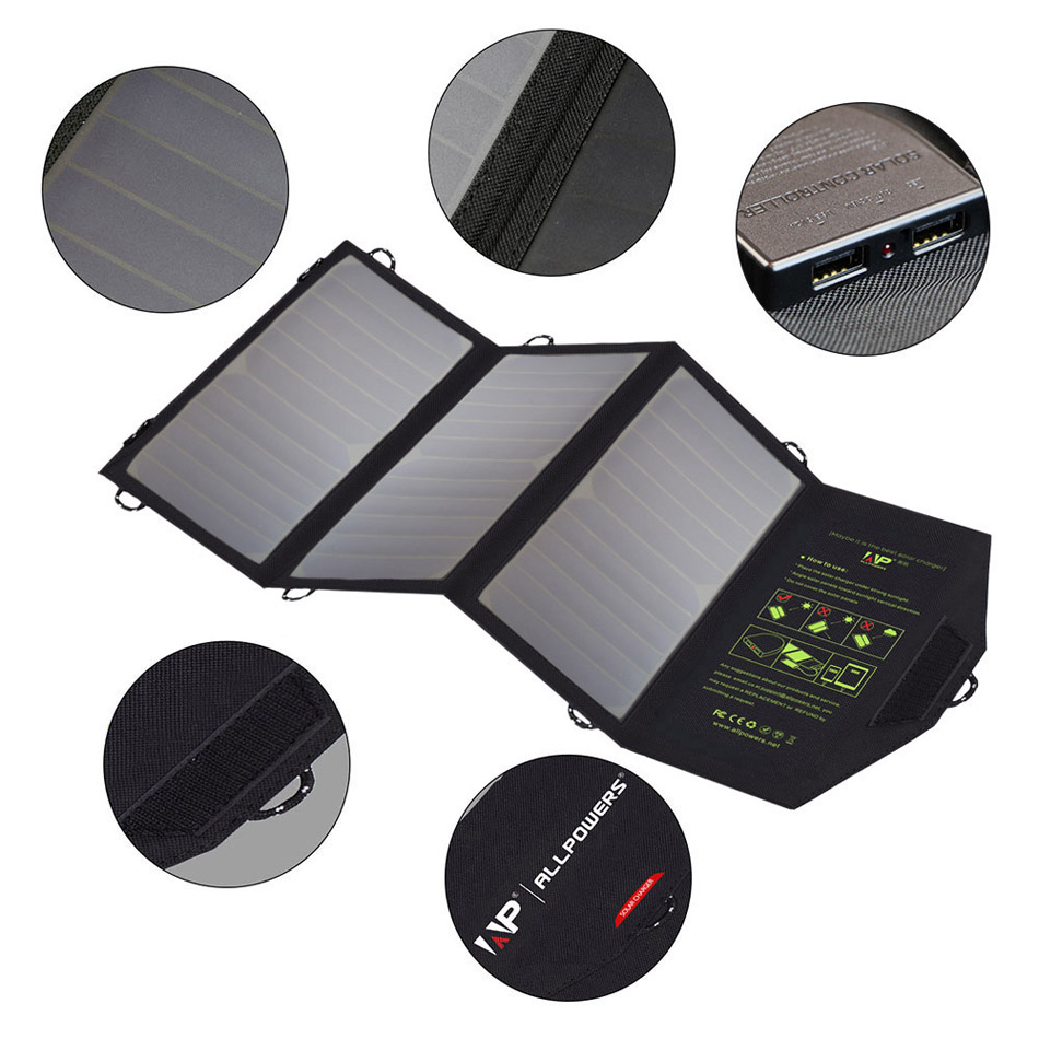 Foldable Solar Charger with Dual USB Interface