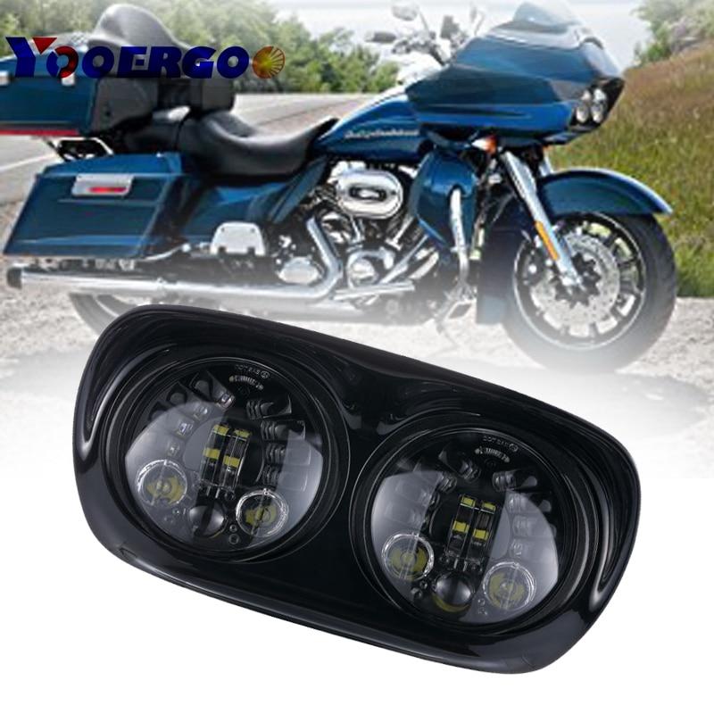 Harley аксессуар LED двойное дорога Glide мотоцикл фар 45 Вт X 2, мотоцикл Харлей частей 12 В DOT утвержден