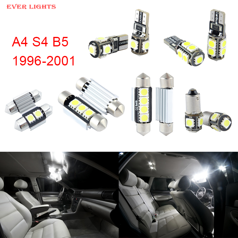 13pcs LED Canbus Interior Lights Kit Package For Audi A4 S4 B5 (1996-2001) free shipping 60 17x a4 s4 b5 1998 2001 white led lights interior package kit canbus