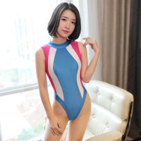 One piece Mankini Bodysuit Leotard Swimwear Singlet Sukumizu Underwear with Japanese Bulge Pouch Sexy Cosplay Swimsuit Body Suit