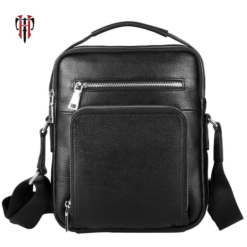TIANHOO sac de messager de style d'affaires hommes en cuir sac à bandoulière en cuir véritable sac de travail à la main pour ordinateur portable