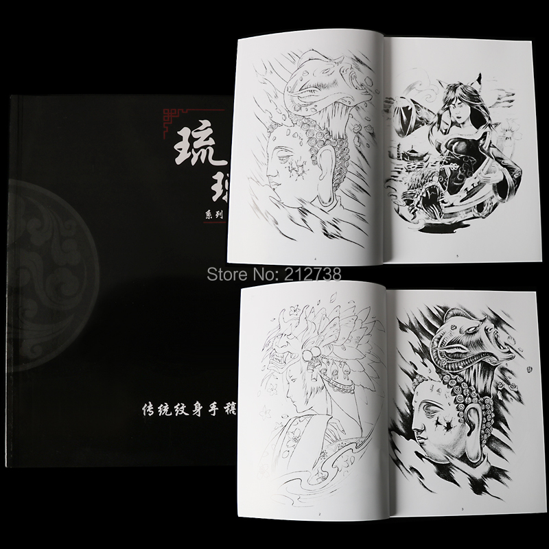 Tattoo & Body Art Qualified Liuli New Tattoo Traditional Manuscript Full Of Backpack Arms Hua Dan Geisha Black And White Impermanence Lucky Line Draft Book 100% High Quality Materials Tattoo Accesories