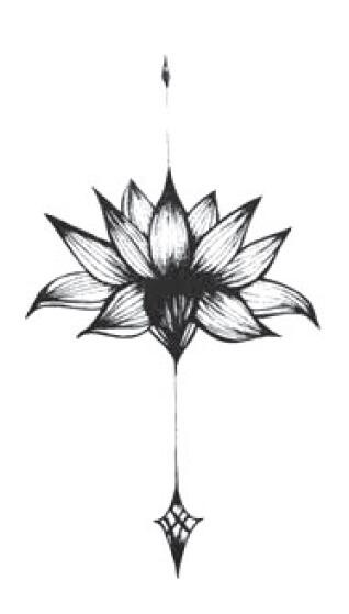 Waterproof Temporary Fake Tattoo Stickers Black Lotus Flowers