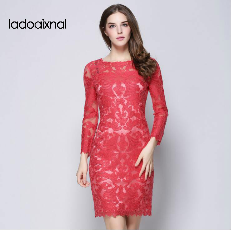 Iadoaixnal High Quality Embroidery Patchwork Hollow Out Summer Lace Women Dress slim long Sleeve Slim plus size Women's Dresses iadoaixnal knitted patchwork floral print belt slim full sleeve women dress summer o neck asymmetrical vintage female long dress