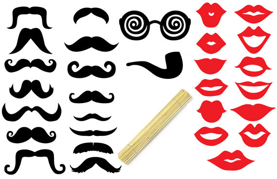 Free Shipping 41pcs Lot Photo Booth Props Wedding Mustache Top Hat Lips