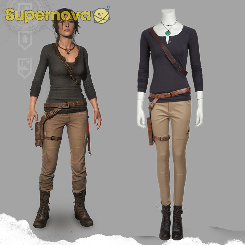 Tomb Raider Lara Croft Cosplay Costume Carnival Halloween