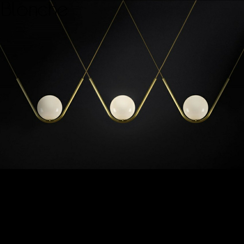 Nordic Creative V Shape Gold Pendant Lights Glass Ball Hanging Lamp for Dining Room Kitchen Bedroom Cafe Modern Light Fixtures in Pendant Lights from Lights Lighting
