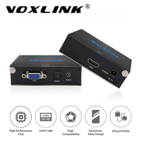 VOXLINK HDMI To VGA Audio Video Converter Box Adapter 1080P Plug Play Compatible HDCP For HDTV