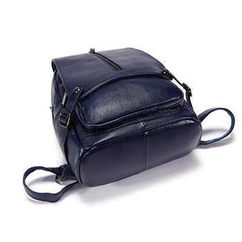 Brand Genuine leather Backpack Women Leisure fashion black blue girls leather female backpack 2018
