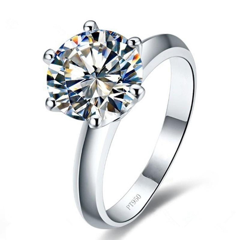 AINOUSHI New Classic Six Claw 2ct Sona Synthetic Gemstone Engingsment Rings 925 ստերլինգ արծաթ խոստման օղակ Հարսանեկան օղակներ