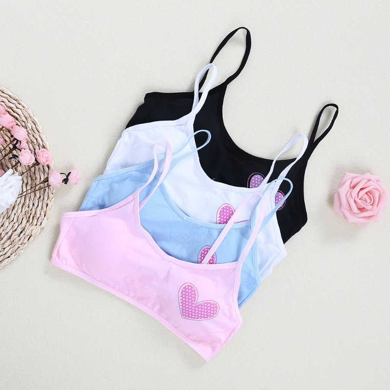 Young Girls Training Bra Loving Heart Kids Bra Teenage Kids Soft Cotton Underwear Top Shoulder Strap Vest Type Training Bras