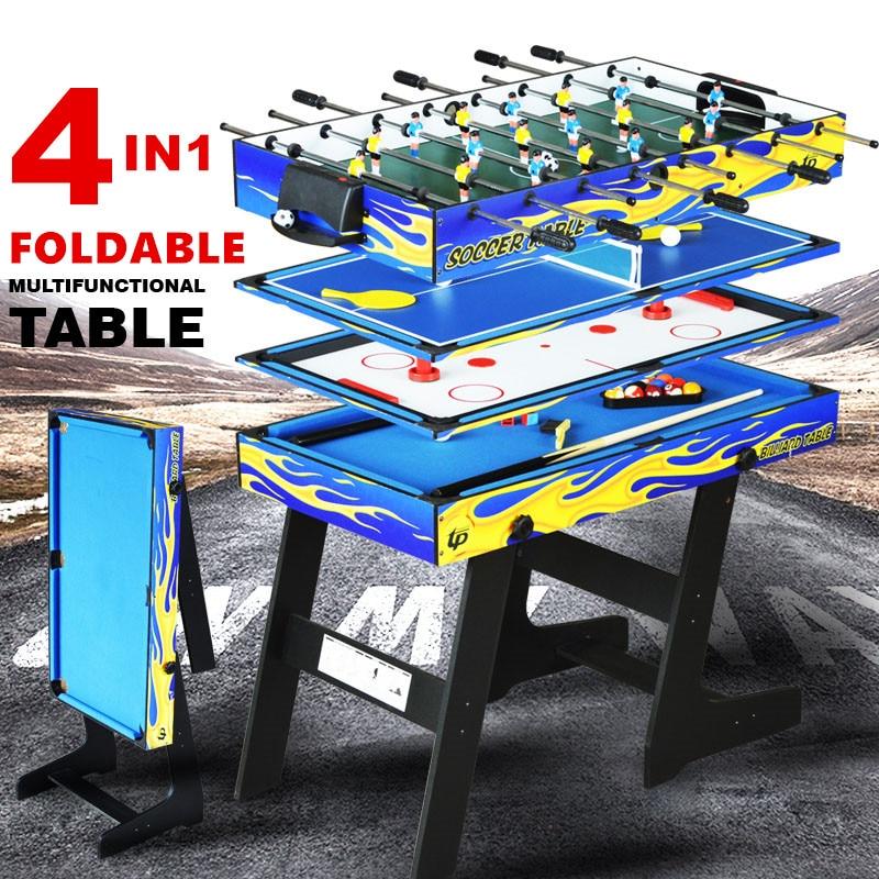 4ft Pliable 4 en 1 Multi Table de Jeu Enfants Jeu Intérieur Tableau 4 Différents Jeu Piscine De Boule De Tennis de Table air hockey