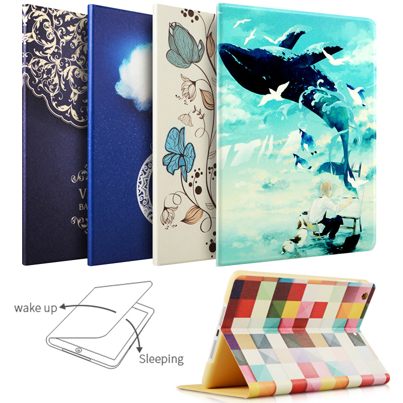 Case For iPad Air / Air2, ZVRUA Painting Series with Auto Wake Up/Sleep Function Stand Smart Cover for ipad 9 7 2017 2018 high quality girl series auto sleep tpu protective shell cover case for ipad 5 6 air air2 air 2