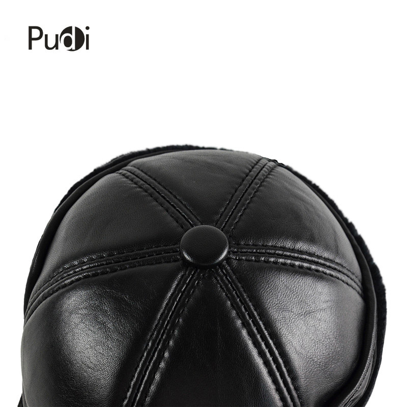 2fba477485e HL165-F Genuine leather baseball cap hat men s winter brand new cow skin leather  hats caps black with Faux fur inside men s hat