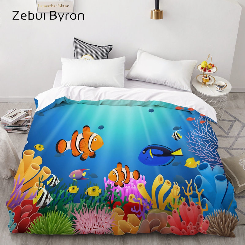 3D HD Custom Duvet Cover,Comforter/Quilt/Blanket Case Queen/King,Cartoon Bedding Ocean Fish 140x200 For Baby/Kids/Child/Boy/Girl