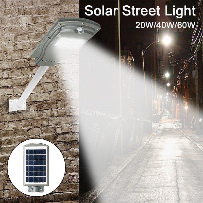 Mising 20LED 20/40/60W Solar Radar Sensor Light Control Wall Street Light Outdoor Wall Lamp Security Spot Lighting Waterproof