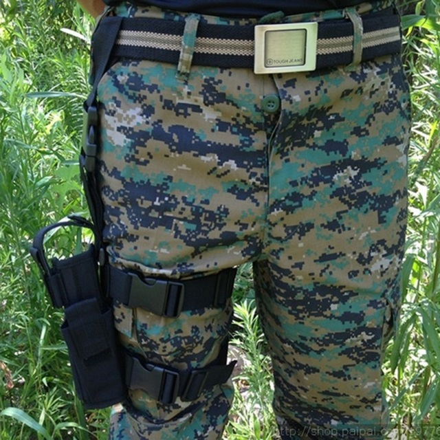 Adjustabl Tactical Pistol Drop Leg Thigh Holster w/ Mag Pouch Right Hand Outdoor Tactical Pouch with Adjustable Magic Strap 1