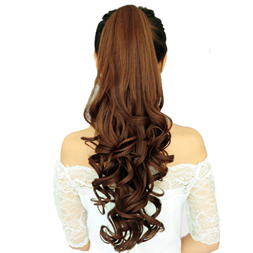 Feibin Pony tail Hair Extension Claw Clip In Drawstring False Wave Hairpiece 24 inch 60cm yw591