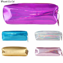 High-Quality Fashion Hologram Pencil Case Pen Holder Makeup Boxes Zipper Comestic Storage Bag Free Shipping