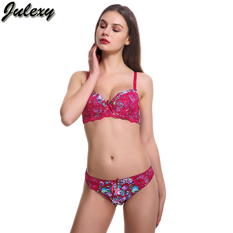 Julexy Brand New 2018 printing Girl underwear women set A B Cup Sexy lace  top bra and panty set Black blue red bra brief set-in Bra   Brief Sets from  ... 0540b7e62