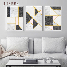 Scandinavian Style Nordic Abstract Decorative Painting Gold Lines Marble Texture Wall Art Poster for Living Room Home Decor