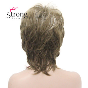 Image 5 - StrongBeauty Short Fluffy Layered Light Brown Highlighted Classic Cap Full Synthetic Wig Womens Hair Wigs COLOUR CHOICES