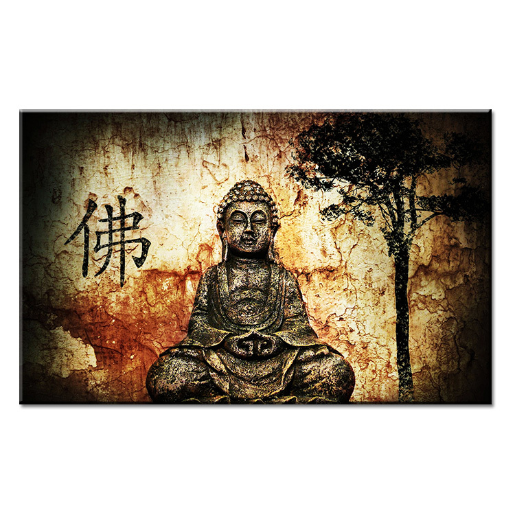 Ancient art buddha wall painting print on canvas for home for Buddha wall art