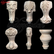 Decorative Furniture Leg Decor Carved Wooden Bed Applique Woodcarving Cabinet Foot Unpainted Miniatures Decal Wood Furniture(China)
