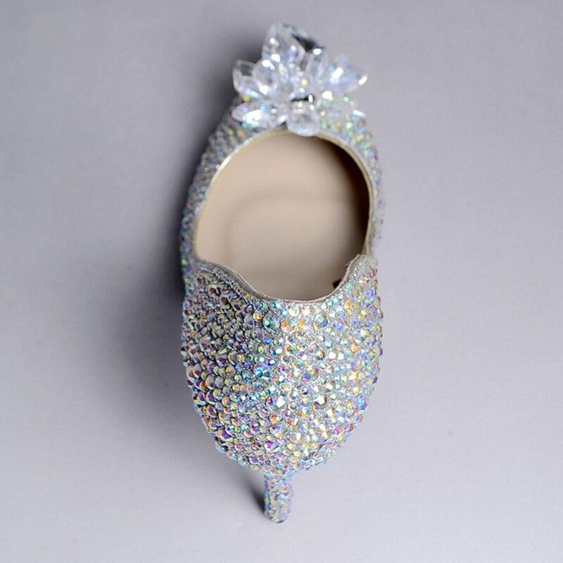 Brillante Danza Novia Dedo Cristal Boda Brillantes Ramo Ab Baile Del Zapatos Crystal De Vestir Heel Rhinestone 10cm Pie Formales Banquete Bombas Puntiagudo wAA6X0S