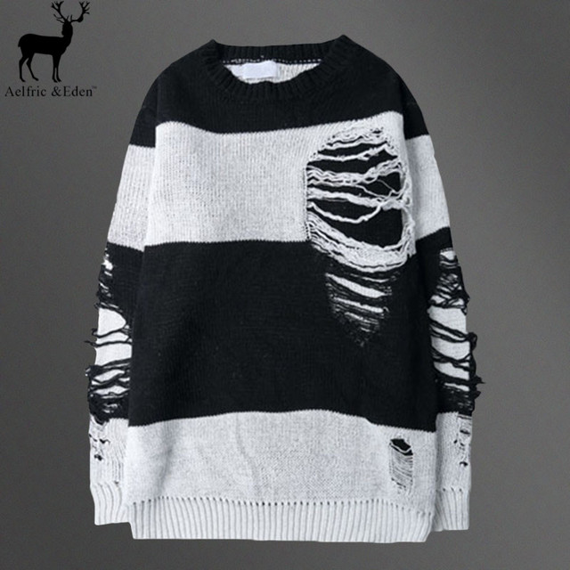 Aelfric Eden Men Sweater Brand Hole Casual Striped Sweater Male Round-Neck Loose Knitting Sweaters Autumn Mens Fashion Pullovers